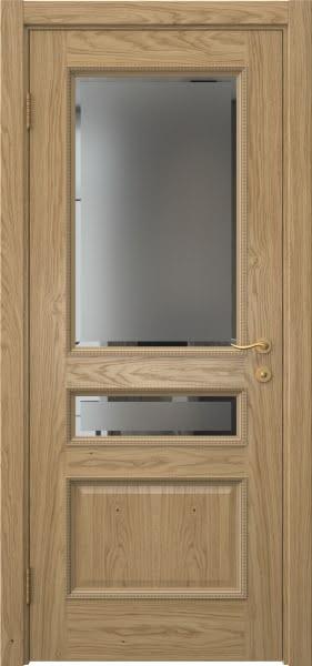 Межкомнатная дверь SK015 (натуральный шпон дуба / стекло с фацетом)