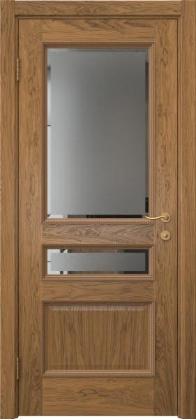 Межкомнатная дверь SK015 (шпон дуб античный с патиной / стекло с фацетом)