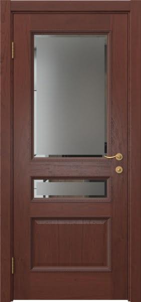 Межкомнатная дверь SK015 (шпон красное дерево / стекло с фацетом)