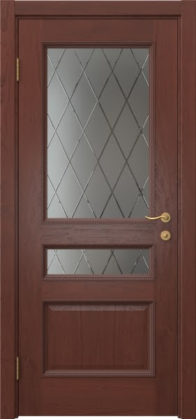 Межкомнатная дверь SK015 (шпон красное дерево / сатинат ромб)