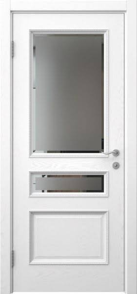 Межкомнатная дверь SK015 (шпон ясень белый / стекло с фацетом)