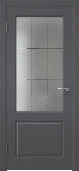Межкомнатная дверь ZK011 (эмаль графит, стекло с гравировкой)