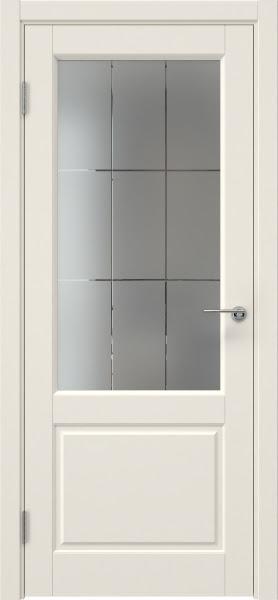 Межкомнатная дверь ZK011 (эмаль слоновая кость, стекло с гравировкой)