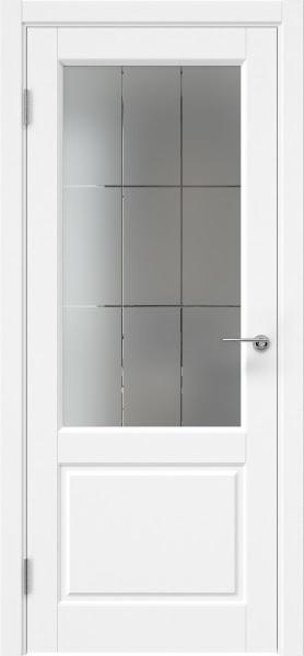 Межкомнатная дверь ZK011 (эмаль белая, стекло с гравировкой)