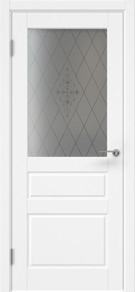 Межкомнатная дверь ZK013 (эмаль белая, стекло с узором)