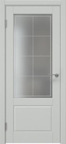 Межкомнатная дверь ZK014 (эмаль светло-серая, матовое стекло)