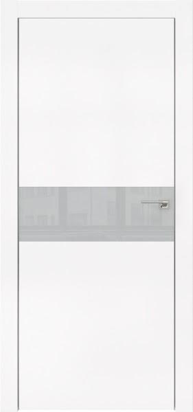 Межкомнатная дверь ZM003 (экошпон белый / лакобель светло-серый)