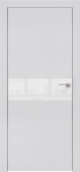 Межкомнатная дверь ZM003 (экошпон светло-серый / лакобель белый)