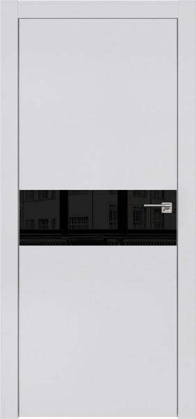 Межкомнатная дверь ZM003 (экошпон светло-серый / лакобель черный)