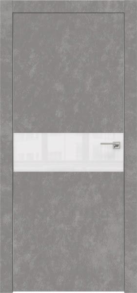 Межкомнатная дверь ZM003 (экошпон «бетон» / лакобель белый)