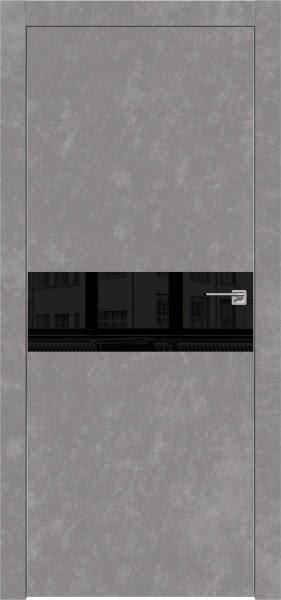 Межкомнатная дверь ZM003 (экошпон «бетон» / лакобель черный)