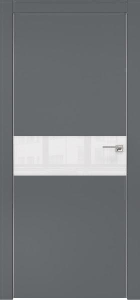 Межкомнатная дверь ZM003 (экошпон «графит» / лакобель белый)