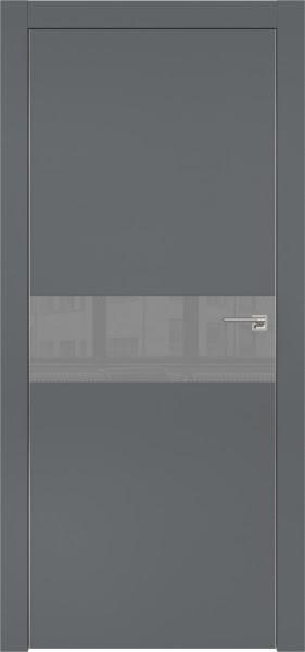 Межкомнатная дверь ZM003 (экошпон «графит» / лакобель серый)