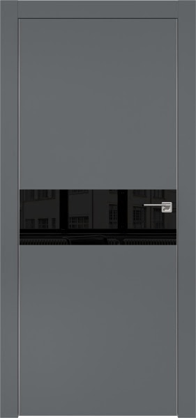 Межкомнатная дверь ZM003 (экошпон «графит» / лакобель черный)