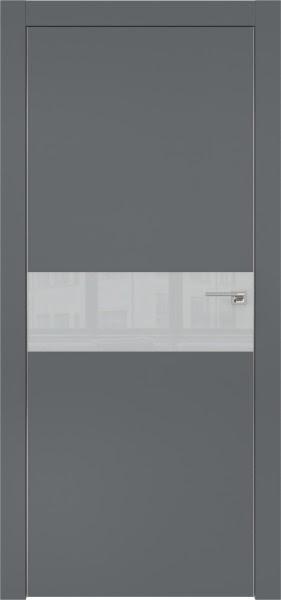 Межкомнатная дверь ZM003 (экошпон «графит» / лакобель светло-серый)
