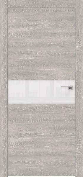 Межкомнатная дверь ZM003 (экошпон «серый дуб патина» / лакобель белый)
