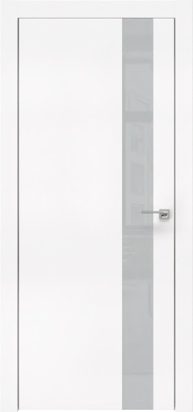 Межкомнатная дверь ZM004 (экошпон белый / лакобель светло-серый)