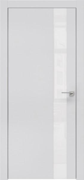 Межкомнатная дверь ZM004 (экошпон светло-серый / лакобель белый)