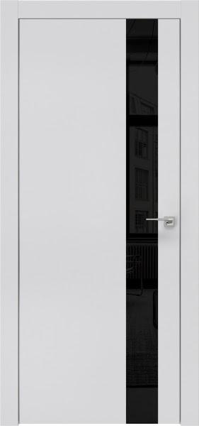 Межкомнатная дверь ZM004 (экошпон светло-серый / лакобель черный)
