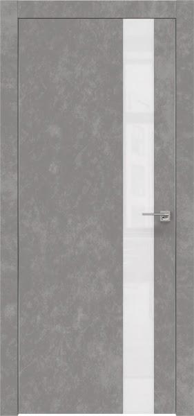 Межкомнатная дверь ZM004 (экошпон «бетон» / лакобель белый)