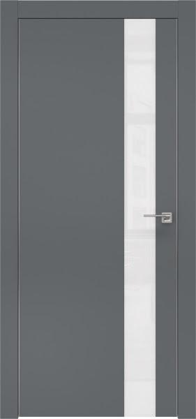 Межкомнатная дверь ZM004 (экошпон «графит» / лакобель белый)
