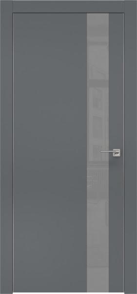 Межкомнатная дверь ZM004 (экошпон «графит» / лакобель серый)