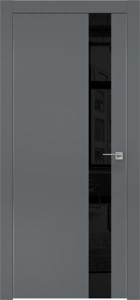 Межкомнатная дверь ZM004 (экошпон «графит» / лакобель черный)
