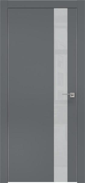 Межкомнатная дверь ZM004 (экошпон «графит» / лакобель светло-серый)