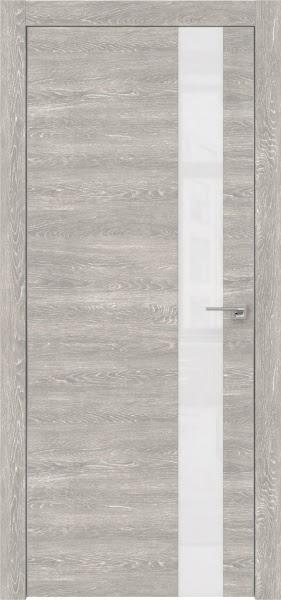 Межкомнатная дверь ZM004 (экошпон «серый дуб патина» / лакобель белый)