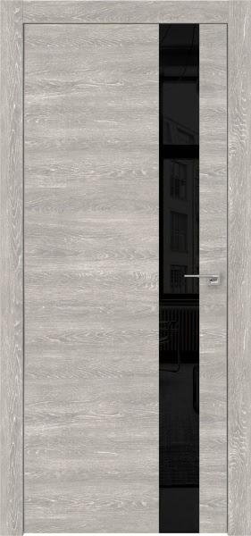 Межкомнатная дверь ZM004 (экошпон «серый дуб патина» / лакобель черный)