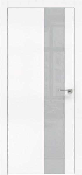 Межкомнатная дверь ZM005 (экошпон белый / лакобель светло-серый)