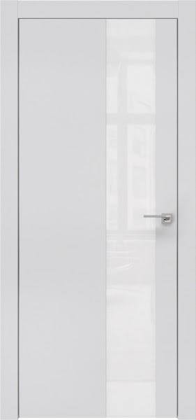 Межкомнатная дверь ZM005 (экошпон светло-серый / лакобель белый)