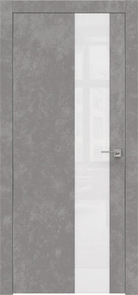 Межкомнатная дверь ZM005 (экошпон «бетон» / лакобель белый)