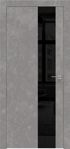 Межкомнатная дверь ZM005 (экошпон «бетон» / лакобель черный)