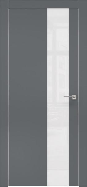 Межкомнатная дверь ZM005 (экошпон «графит» / лакобель белый)