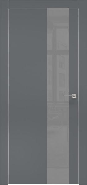 Межкомнатная дверь ZM005 (экошпон «графит» / лакобель серый)