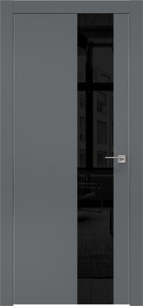 Межкомнатная дверь ZM005 (экошпон «графит» / лакобель черный)