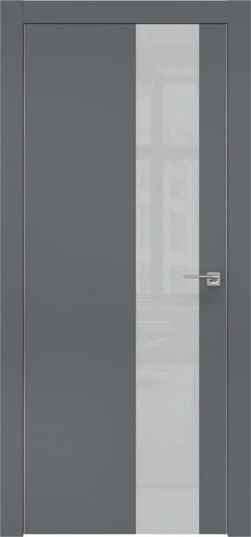 Межкомнатная дверь ZM005 (экошпон «графит» / лакобель светло-серый)