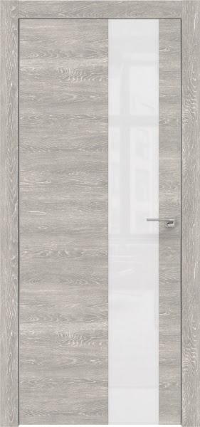 Межкомнатная дверь ZM005 (экошпон «серый дуб патина» / лакобель белый)