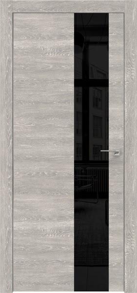Межкомнатная дверь ZM005 (экошпон «серый дуб патина» / лакобель черный)