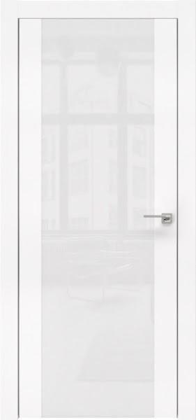 Межкомнатная дверь ZM006 (экошпон белый / лакобель белый)