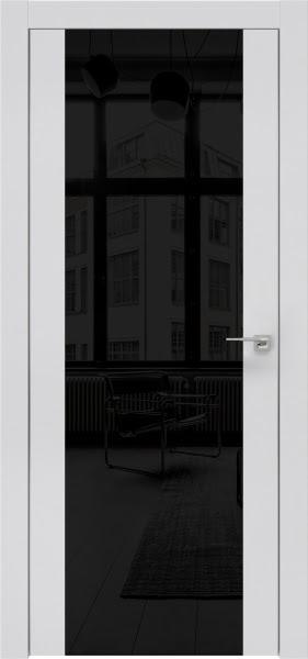 Межкомнатная дверь ZM006 (экошпон светло-серый / лакобель черный)