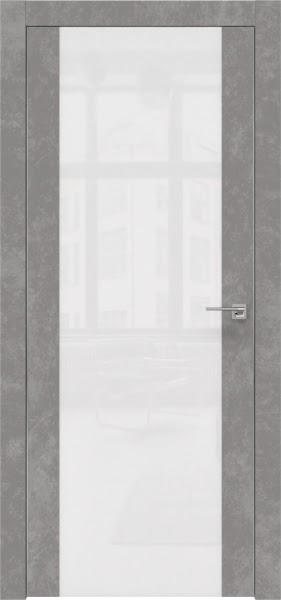 Межкомнатная дверь ZM006 (экошпон «бетон» / лакобель белый)