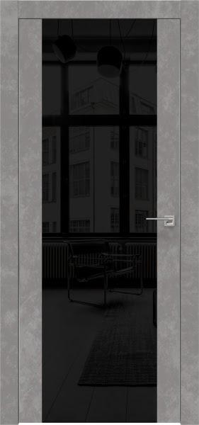 Межкомнатная дверь ZM006 (экошпон «бетон» / лакобель черный)