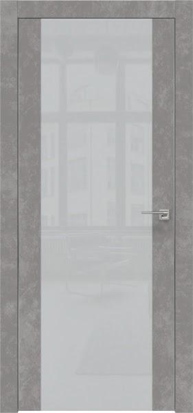 Межкомнатная дверь ZM006 (экошпон «бетон» / лакобель светло-серый)