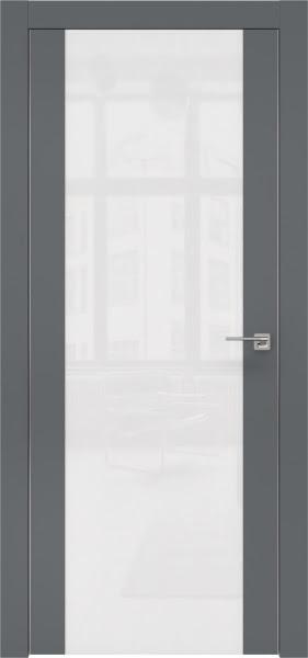 Межкомнатная дверь ZM006 (экошпон «графит» / лакобель белый)