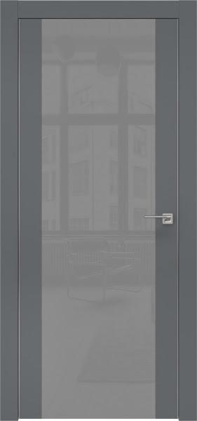 Межкомнатная дверь ZM006 (экошпон «графит» / лакобель серый)