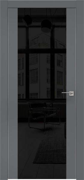 Межкомнатная дверь ZM006 (экошпон «графит» / лакобель черный)