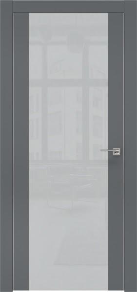 Межкомнатная дверь ZM006 (экошпон «графит» / лакобель светло-серый)