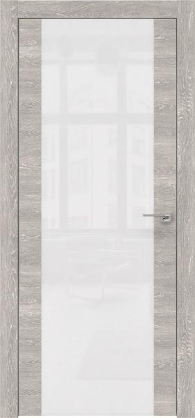 Межкомнатная дверь ZM006 (экошпон «серый дуб патина» / лакобель белый)
